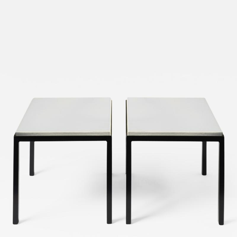 Gerard Simo n PAIR OF WHITE GLAZED LAVA STONE SIDE TABLES