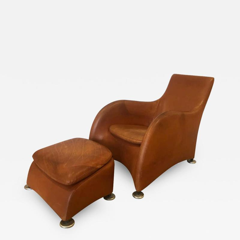 Gerard van den Berg Dutch 1990s Montis Leather Lounge Chair and Ottoman