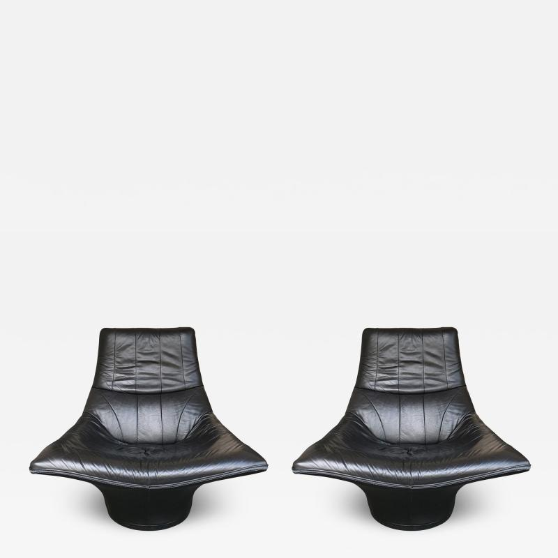Gerard van den Berg Pair of Leather Lounge Armchairs by Gerard Van Den Berg Netherlands 1980s