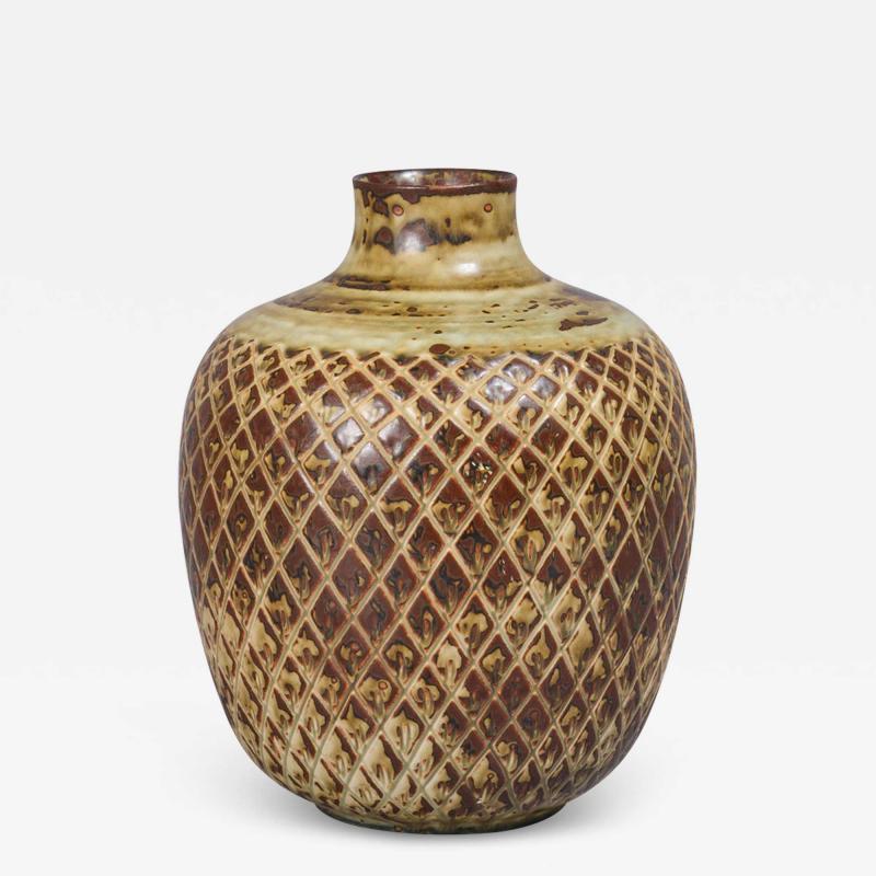 Gerd Bogelund Vase with Diamond Lattice Ornament and Sung Glaze by Gerd Bogelund