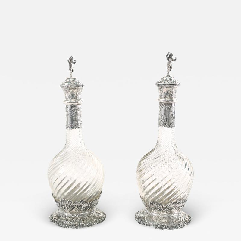 German Silver Mounted Cut Glass Pair Claret Jugs