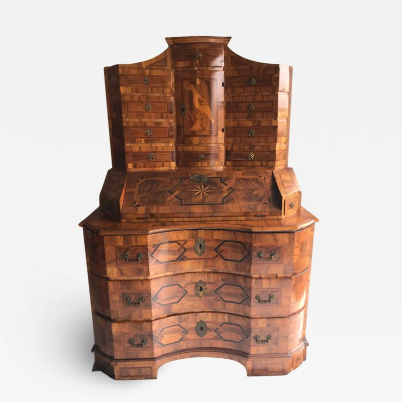 German baroque walnut and parquetry secretary