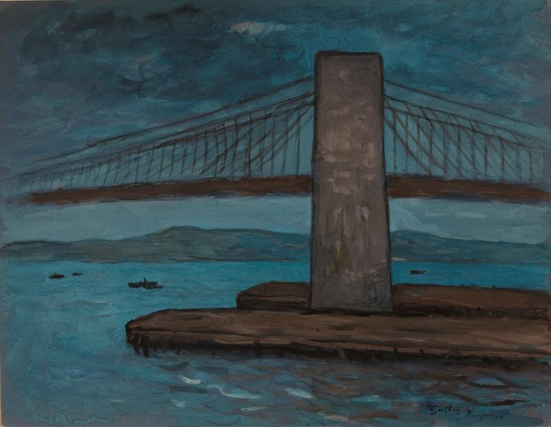 Gershon Benjamin Moonlight on the Brooklyn Bridge