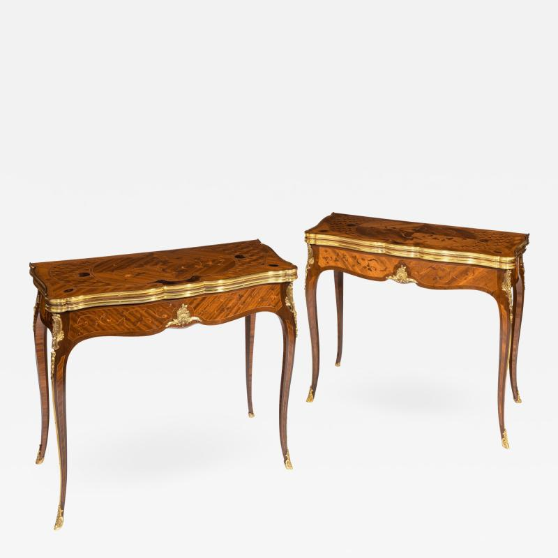 Gervais Durand Pair of kingwood card tables by G Durand