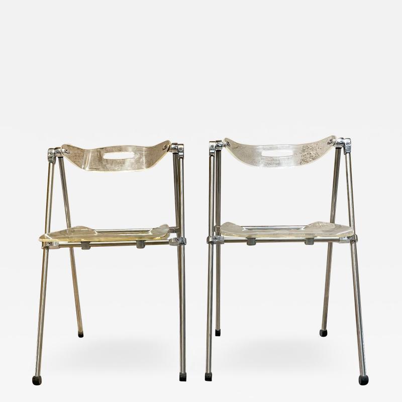 Giancarlo Piretti Modern Lucite Chrome Folding Chairs Giancarlo Piretti for Castelli 1960s ITALY