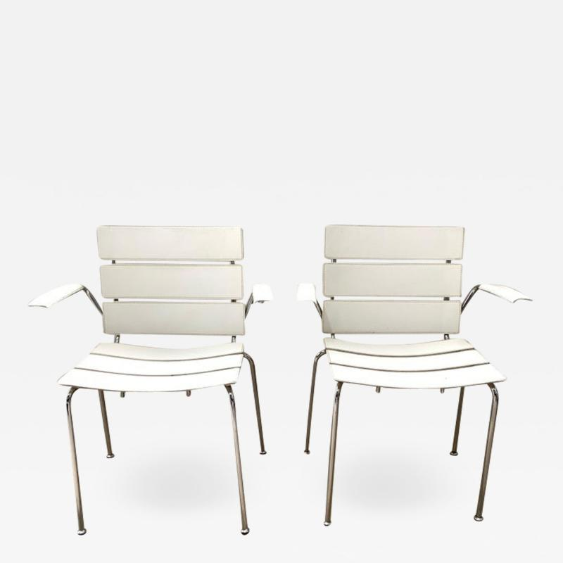 Giancarlo Vegni Rare Pair of Stripe Dining Chair Armchairs by Giancarlo Vegni for Fasem 1999