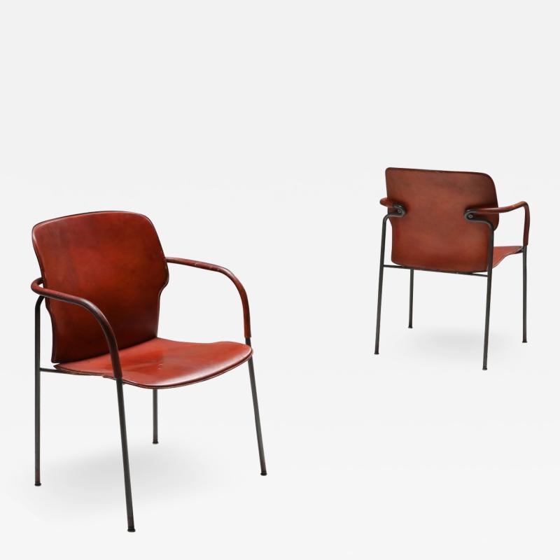 Gianfranco Frattini Gianfranco Frattini armchairs model Lalanda in dark cognac leather 1970s