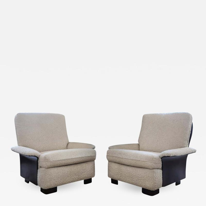 Gianfranco Frattini Pair of Rare Italian Lounge Chairs by Gianfranco Frattini for Cassina