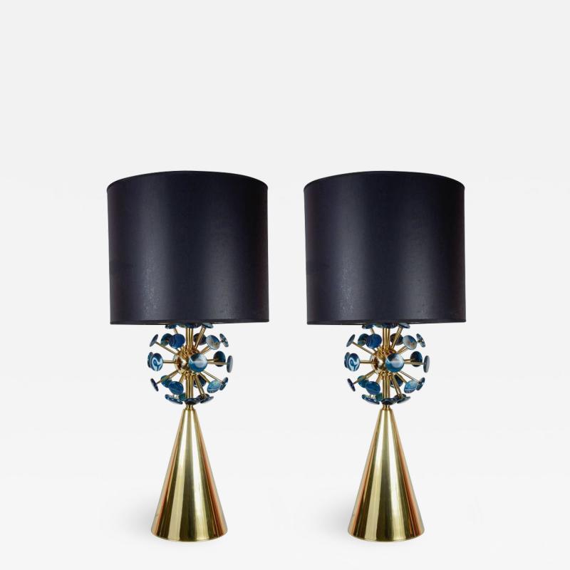Gianluca Fontana Fantastic pair of lamps with agates by Gianluca Fontana