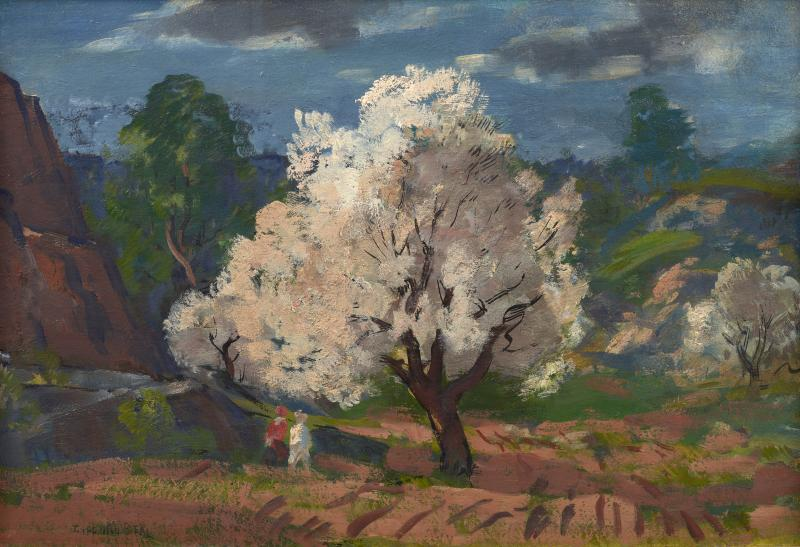 Gifford Beal Blossoming Tree with Stormy Sky Cape Ann A double sided painting