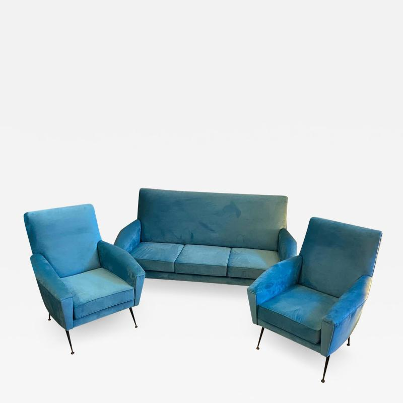 Gigi Radice 1960s Mid Century Modern Blue Velvet and Brass Italian Sofa and two Armchairs