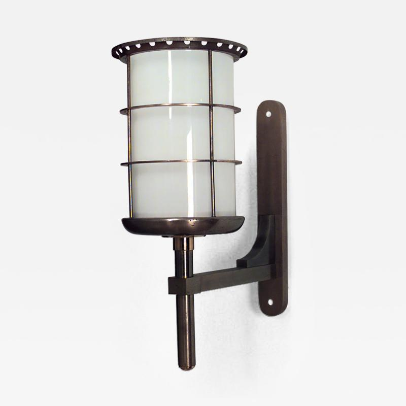 Gilbert Poillerat French 1940s Steel and Brass Cylindrical Shaped Bracket Lantern