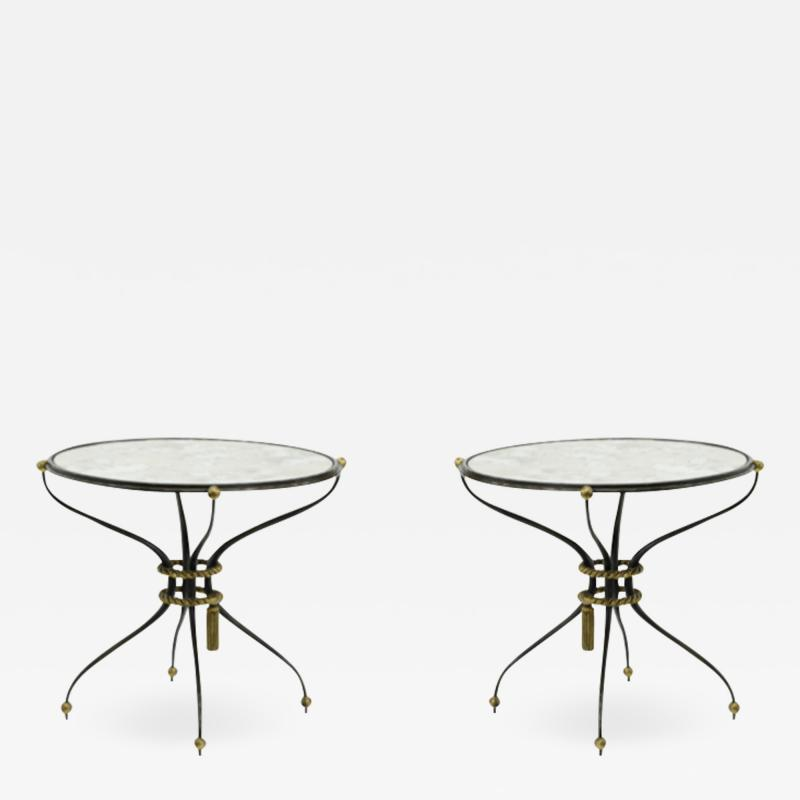 Gilbert Poillerat Gilbert Poillerat pair of wrought iron coffee table with mirror top