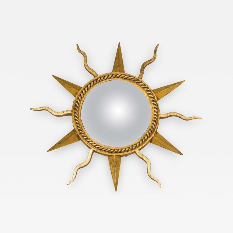 Gilbert Poillerat Gilt Wrought Iron Starburst Convex Mirror