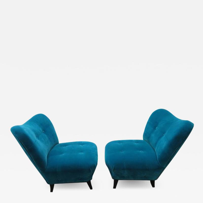 Gilbert Rohde Excellent Pair of Gilbert Rohde Style Mohair Slipper Chairs Mid Century Modern