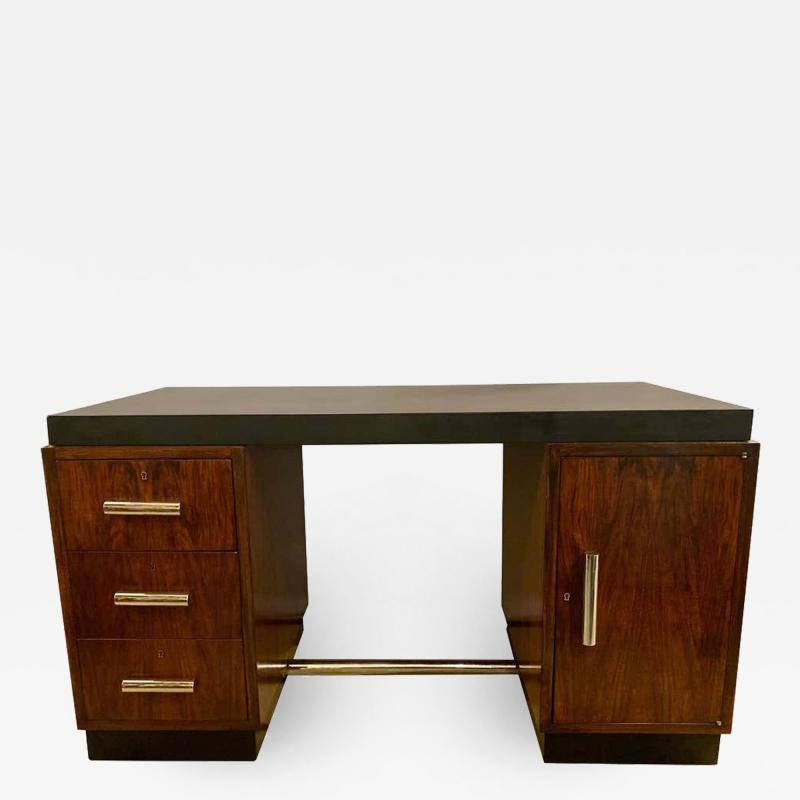 Gilbert Rohde Gilbert Rohde Art Deco Ebony Top Mid Century Modern Desk or Writing Table