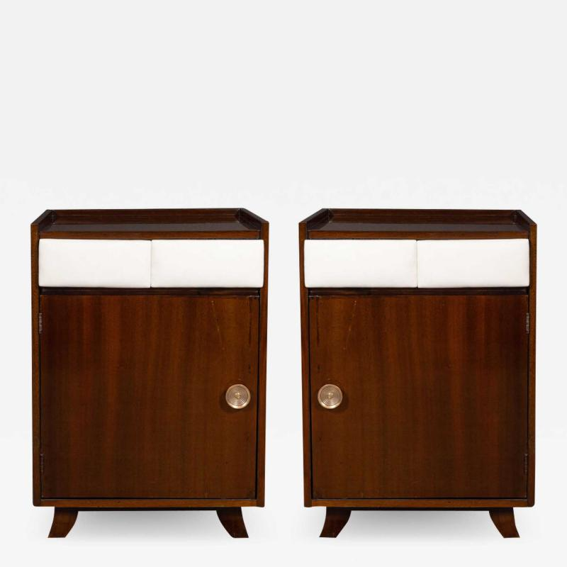Gilbert Rohde Pair of Art Deco Bookmatched Mahogany and Leather Nightstands by Gilbert Rohde