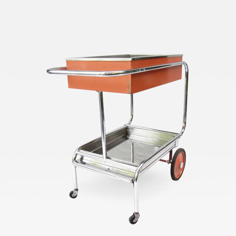 Gilbert Rohde Rolling Chrome Bar Cart Gilbert Rohde for Troy Sunshade Art Deco circa 1933