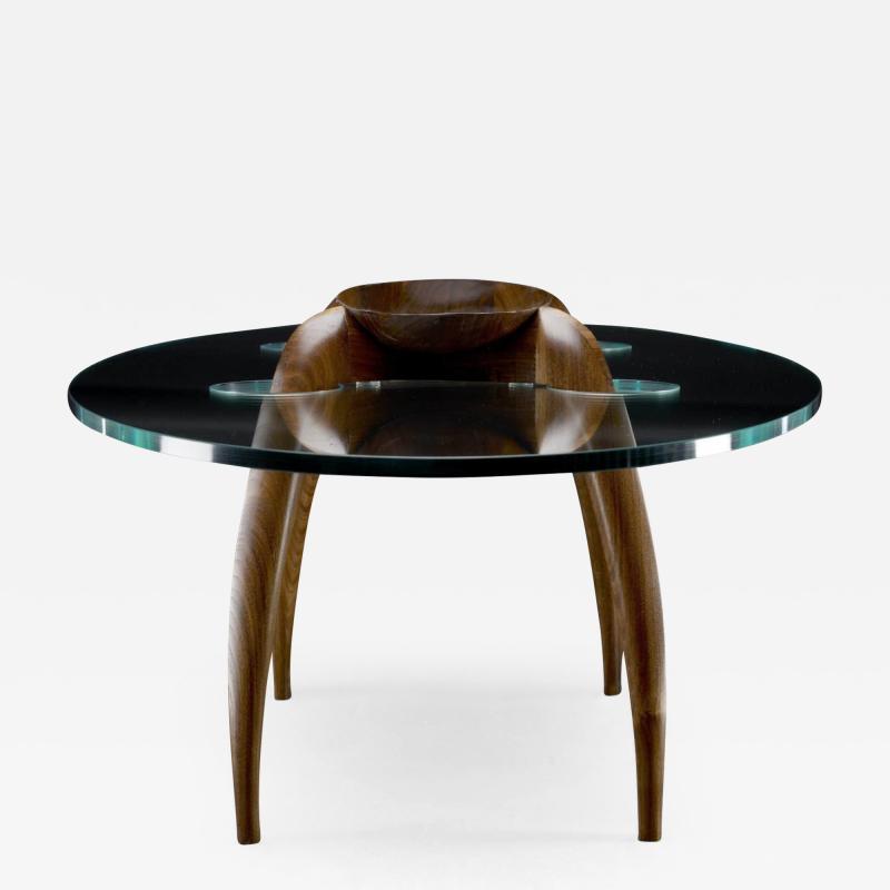 Gildas Berthelot Pragmatism Walnut Coffee Table Signed by Gildas Berthelot