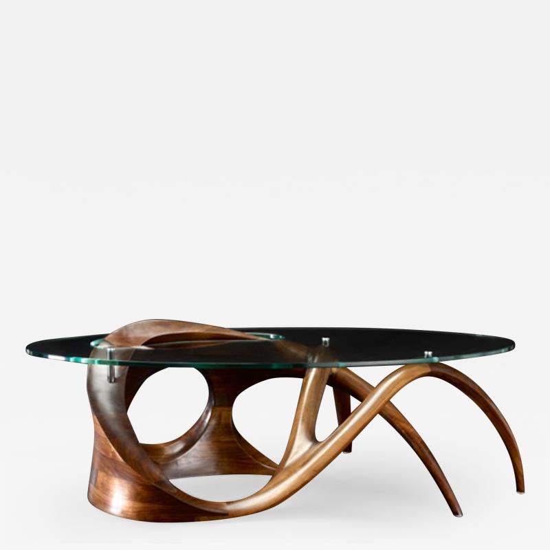Gildas Berthelot Sculpted Black Walnut Coffee Table Signed by Gildas Berthelot