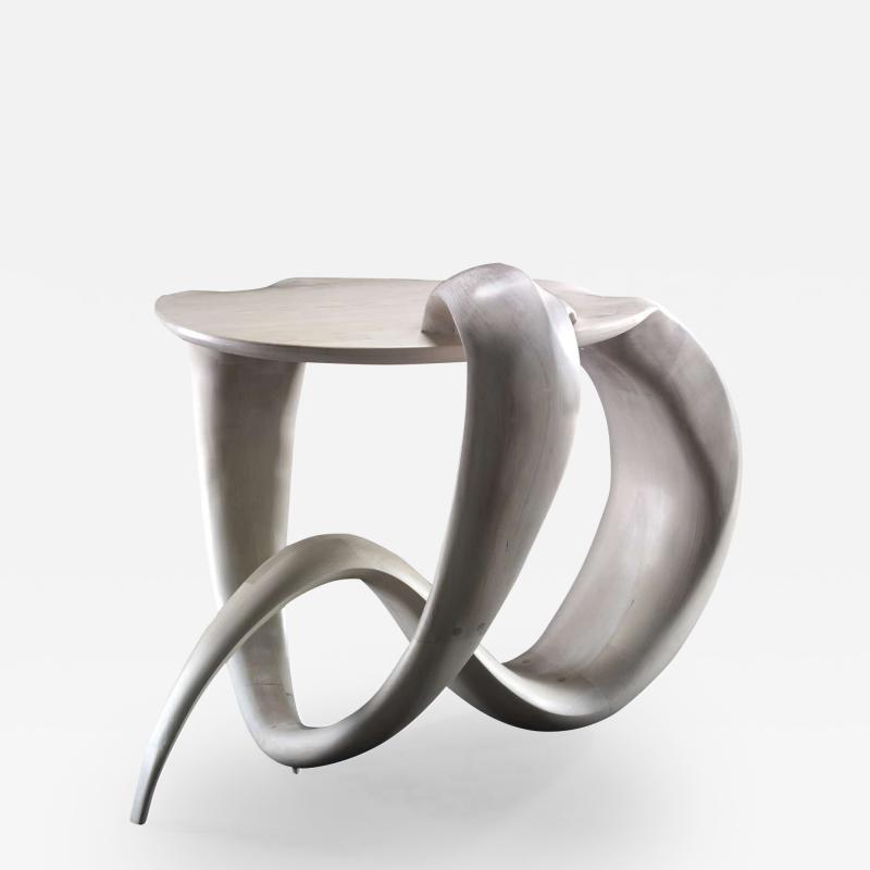 Gildas Berthelot Sculpted Maple Gueridon Signed by Gildas Berthelot