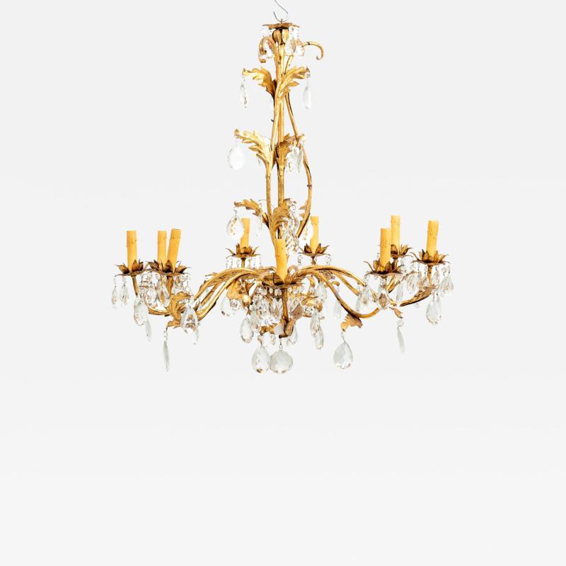 Gilded 8 stem chandelier