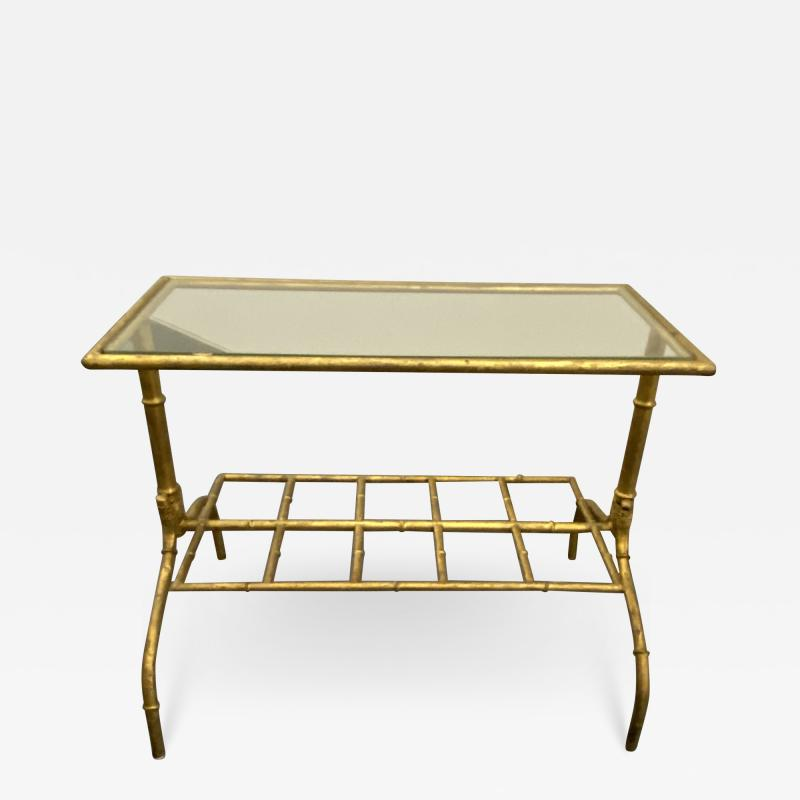 Gilded Wrought Iron Two Tier Table With Glass Top