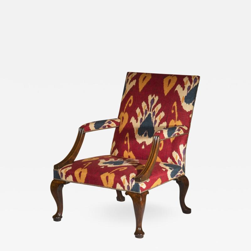Giles Grendey English 18th Century Walnut Armchair in Ikat Fabric