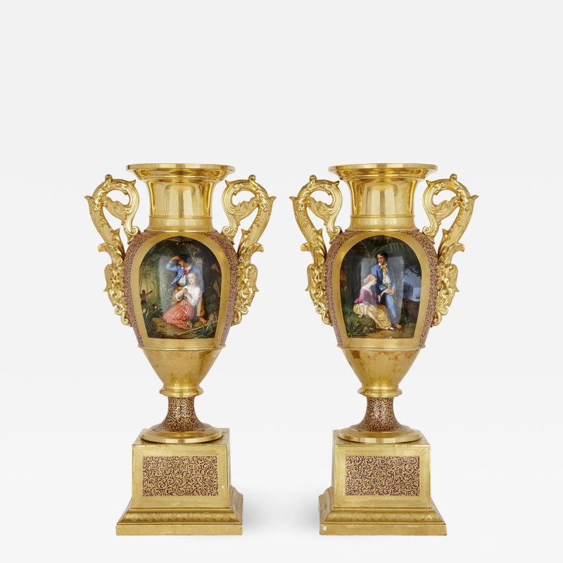 Gille Jeune Pair of large Gille Jeune Paris porcelain vases
