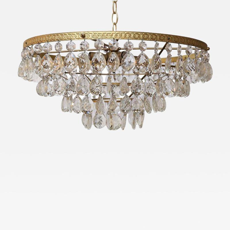 Gilt Brass and Crystal Mid Century Modern Chandelier by Palwa