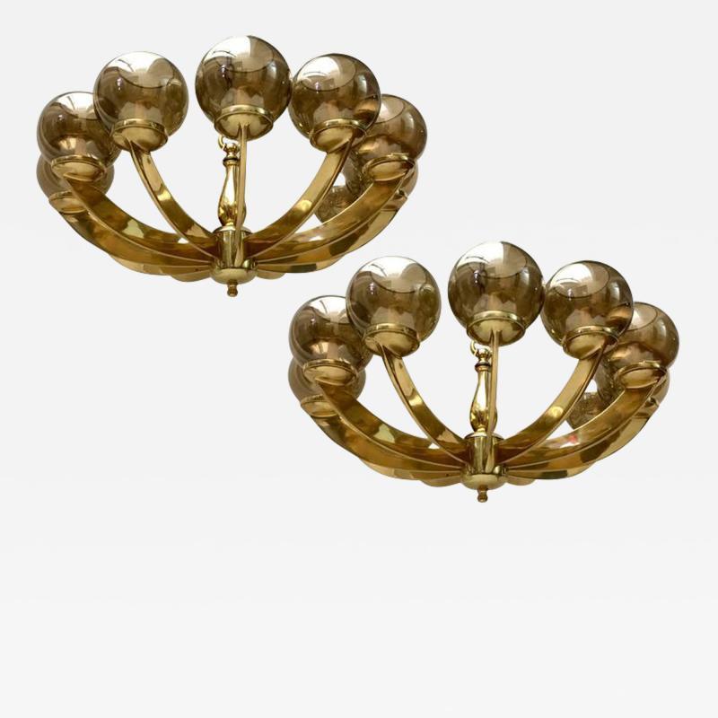 Gilt Bronze Light Fixture with Amber Globes