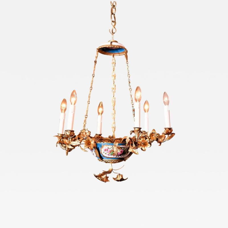 Gilt Bronze and Porcelain Six Light Chandelier