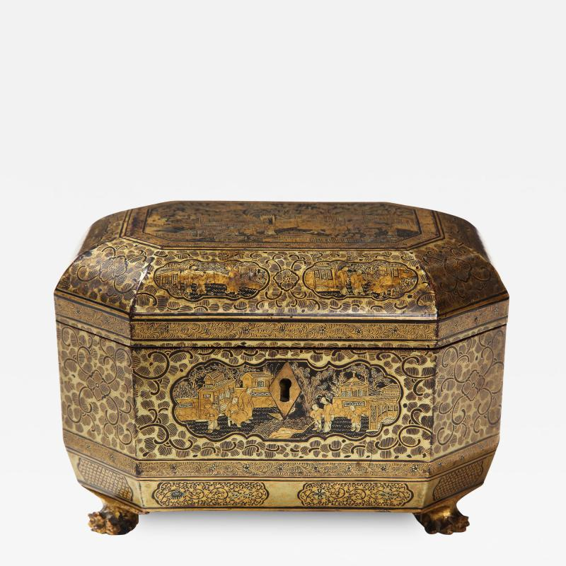 Gilt Lacquer Chinese Tea Caddy