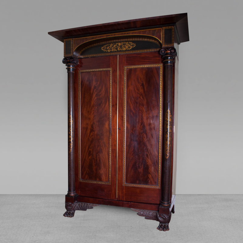 Gilt stenciled carved mahogany armoire for Armoire new york city