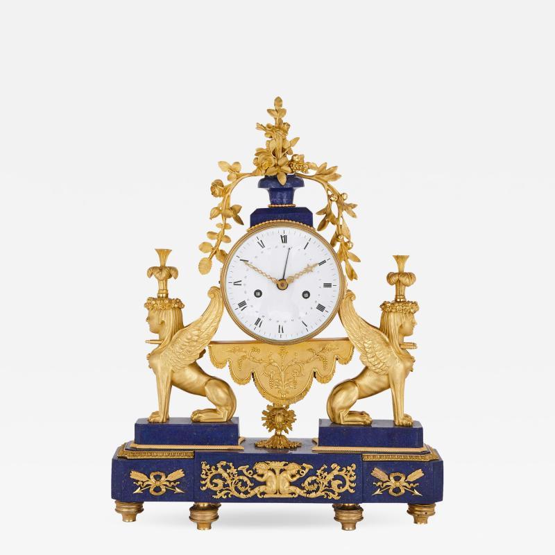 Gilt bronze and lapis French Empire period mantel clock