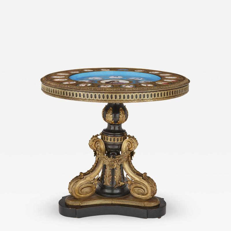 Gilt bronze and porcelain Louis XVI style circular side table