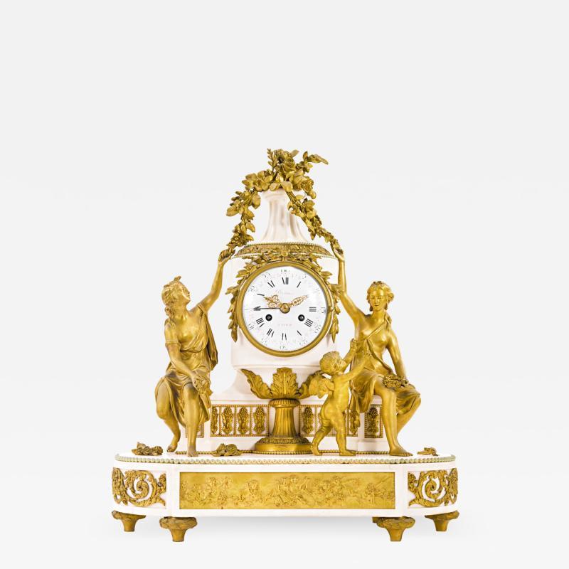 Gilt bronze and white marble Mantel Clock with Enamel Dial by Eug ne Hazart