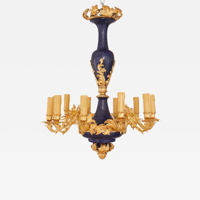 Gilt metal and lapis lazuli twelve light chandelier