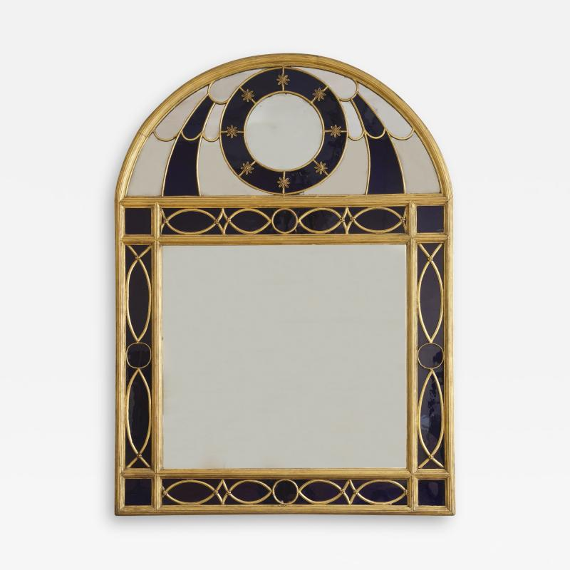 Giltwood Gilt Pewter Mirror Set With Blue Glass In The Hollywood Regency Taste