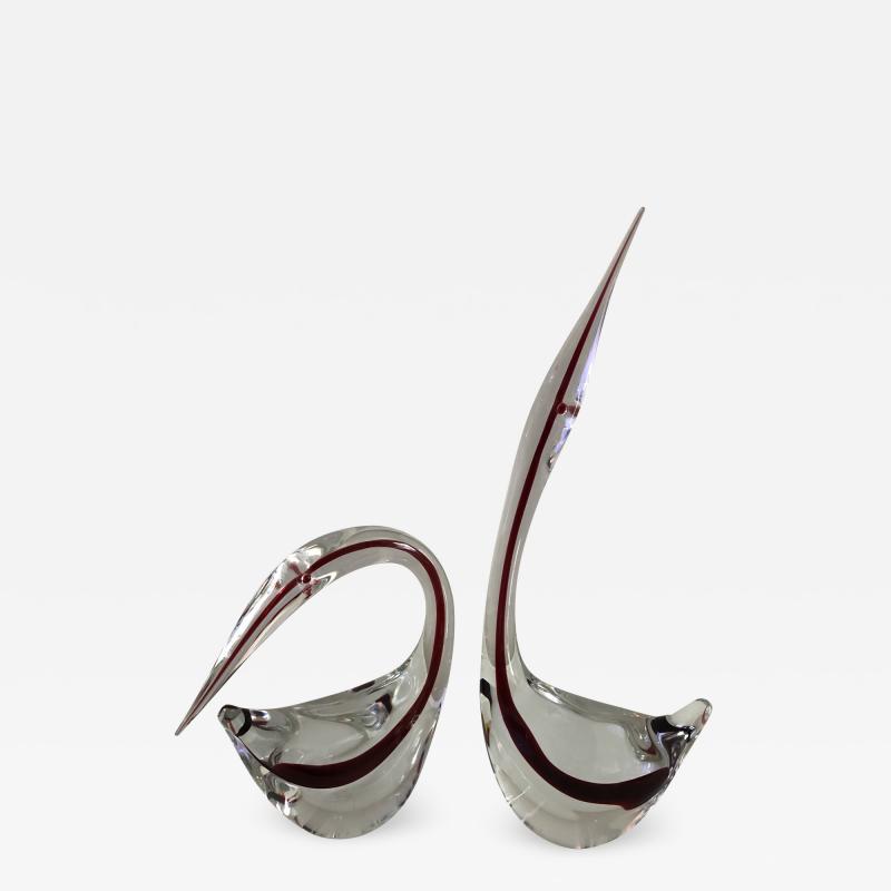Gino Cenedese Pair Cenedese Glass large Murano birds