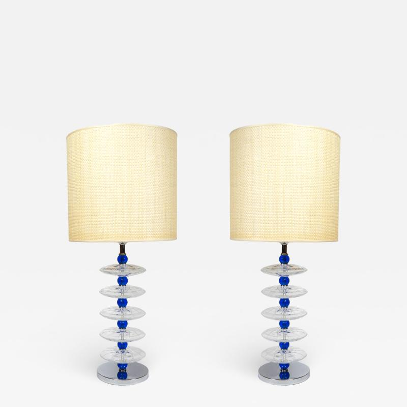 Gino Cenedese Pair of Murano glass lamps in the style of Cenedese
