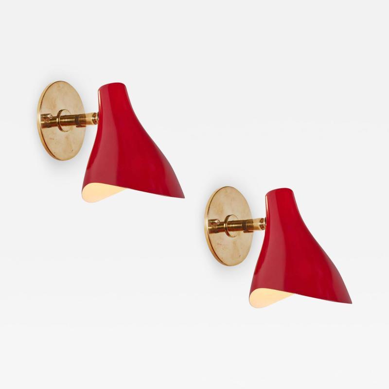 Gino Sarfatti Pair of Gino Sarfatti Model 10 Sconces in Red for Arteluce