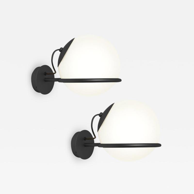 Gino Sarfatti Pair of Gino Sarfatti Model 238 1 Wall Lamps in Black
