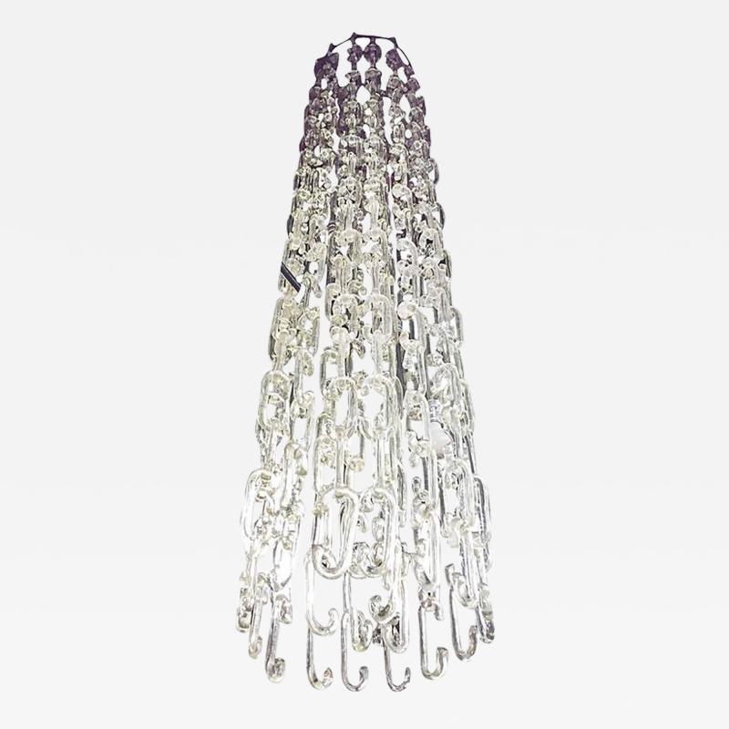Gino Vistosi 8 ft Chain Link Murano Glass Chandelier by Gino Vistosi
