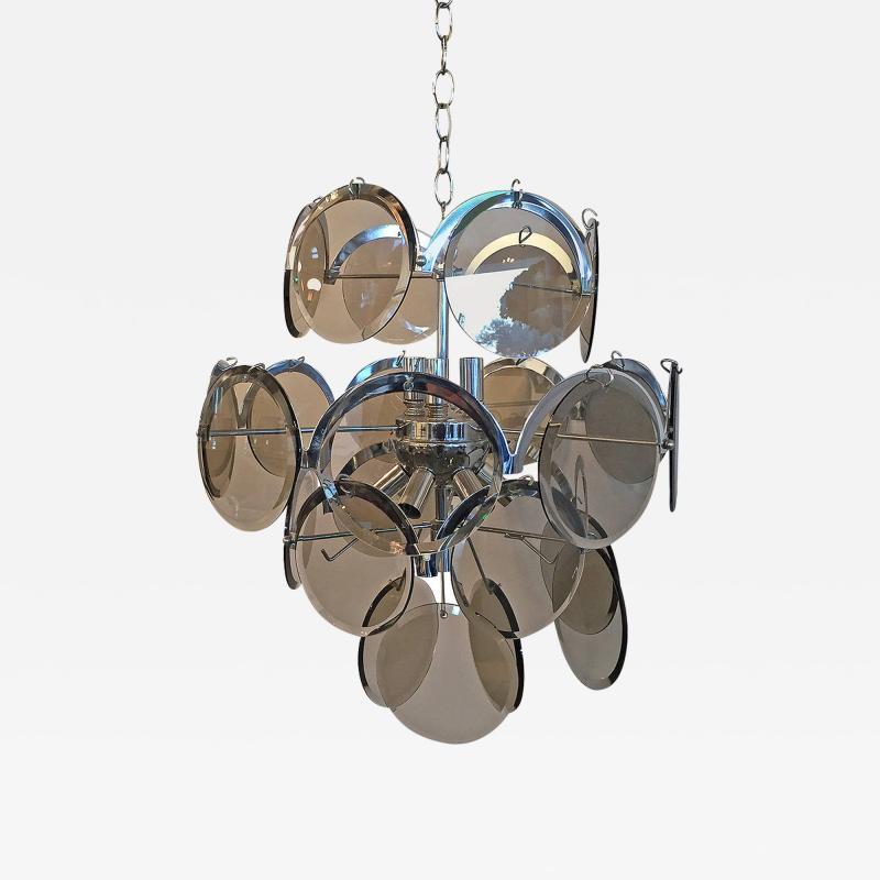 Gino Vistosi Mid Century Modern Italian Vistosi Smoked Glass Beveled Disc Chrome Chandelier