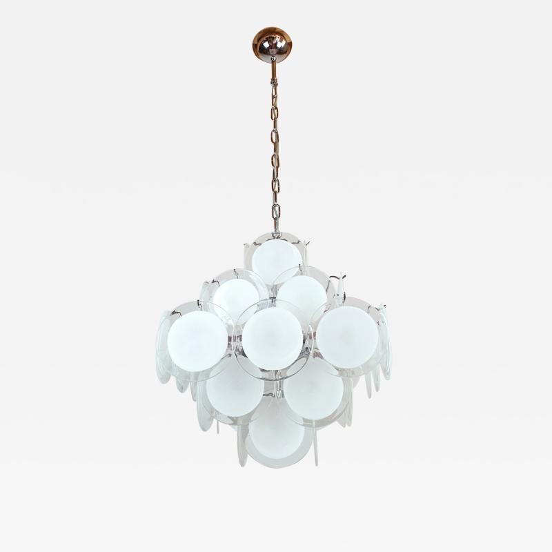 Gino Vistosi Mid Mod Pyramidal White Murano Glass disc chandelier Vistosi Italy 1980s