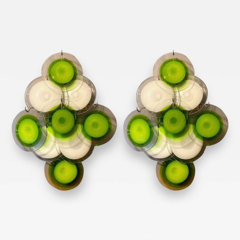 Gino Vistosi Pair of Green and White Vistosi Disc Murano Glass Sconces or Wall Light 1970s