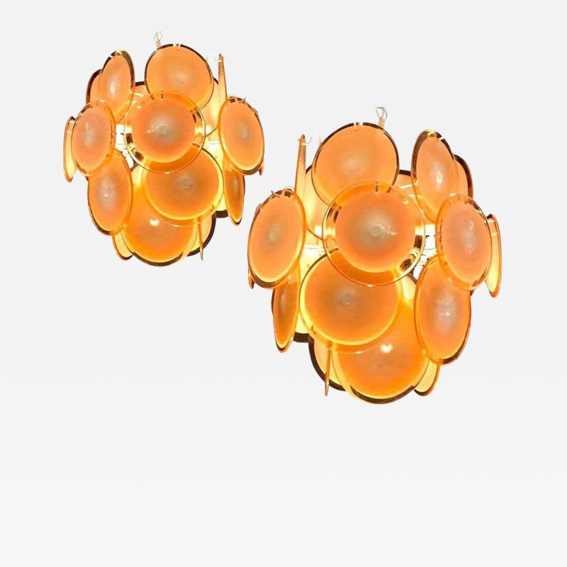 Gino Vistosi Pair of Midcentury Amber Murano Glass Discs Italian Chandeliers 1970s
