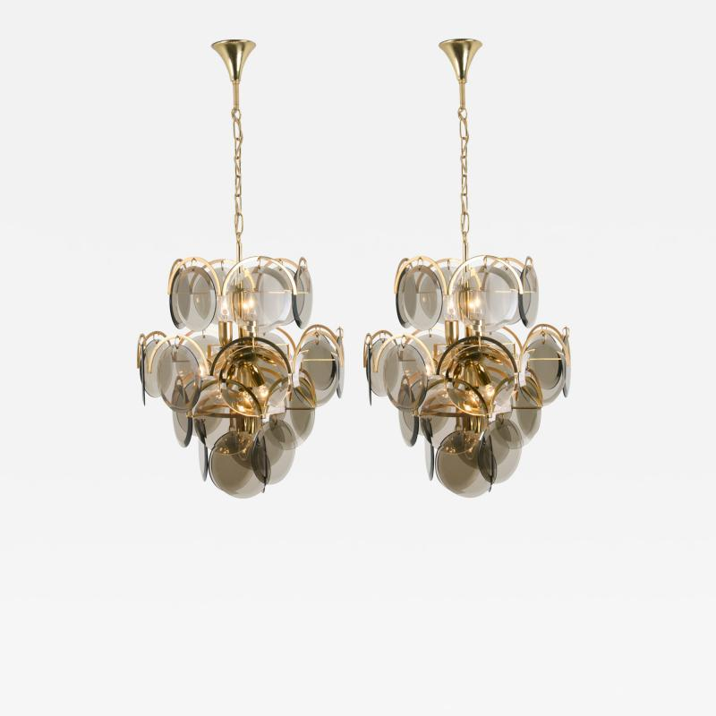 Gino Vistosi Pair of Smoked Glass and Brass Chandeliers in the Style of Vistosi Italy 1970