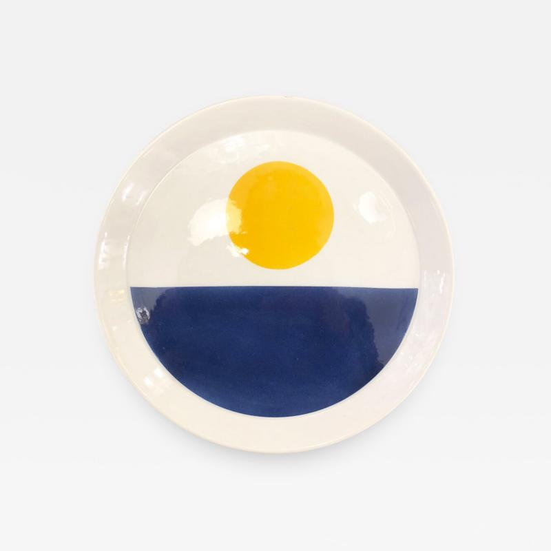 Gio Ponti Blue and Yellow Gio Ponti Plate for Ceramiche Franco Pozzi